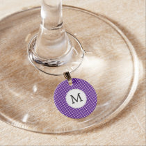 Personalized Monogram Indigo Polka Dots Pattern Wine Charm