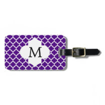 Personalized Monogram Indigo Quatrefoil Pattern Bag Tag