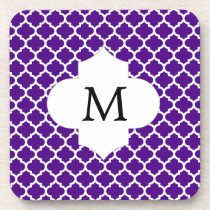 Personalized Monogram Indigo Quatrefoil Pattern Beverage Coaster