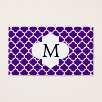 Personalized Monogram Indigo Quatrefoil Pattern Business Card