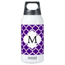 Personalized Monogram Indigo Quatrefoil Pattern Insulated Water Bottle