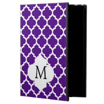 Personalized Monogram Indigo Quatrefoil Pattern iPad Air Case