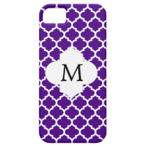Personalized Monogram Indigo Quatrefoil Pattern iPhone SE/5/5s Case