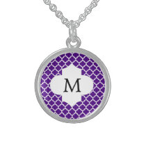 Personalized Monogram Indigo Quatrefoil Pattern Sterling Silver Necklace