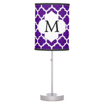 Personalized Monogram Indigo Quatrefoil Pattern Table Lamp