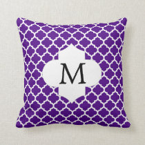 Personalized Monogram Indigo Quatrefoil Pattern Throw Pillow