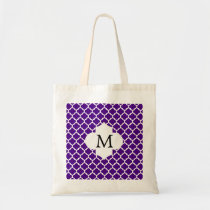 Personalized Monogram Indigo Quatrefoil Pattern Tote Bag