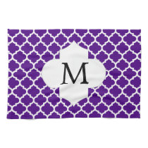 Personalized Monogram Indigo Quatrefoil Pattern Towel
