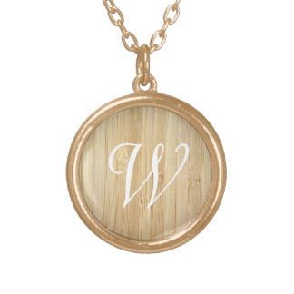 Personalized Monogram Initial Bamboo-Look Gold Plated Necklace