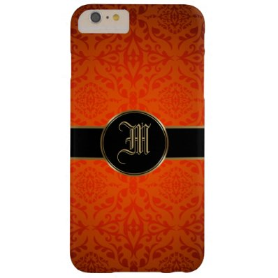 Personalized Monogram Initial Damask Gold Barely There iPhone 6 Plus Case