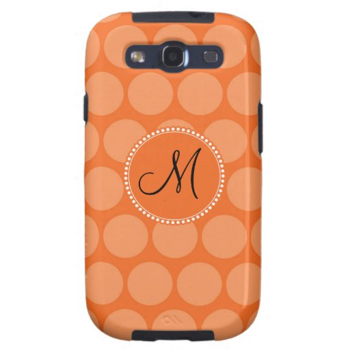 Personalized Monogram Initial Orange Polka Dots Galaxy S3 Cases