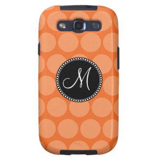 Personalized Monogram Initial Orange Polka Dots Samsung Galaxy SIII Cover