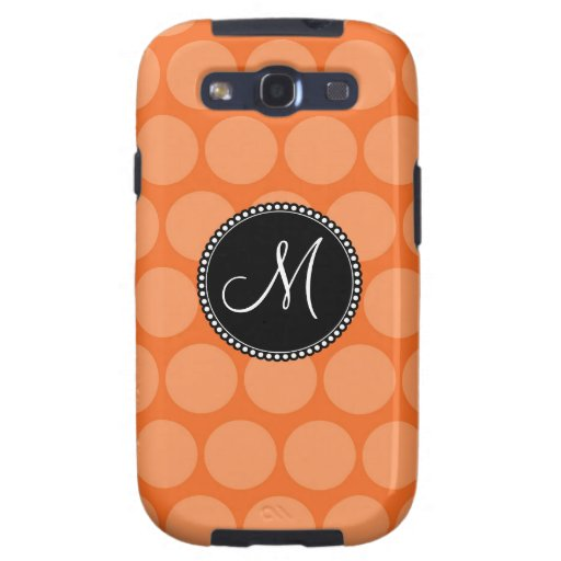 Personalized Monogram Initial Orange Polka Dots Galaxy S3 Covers
