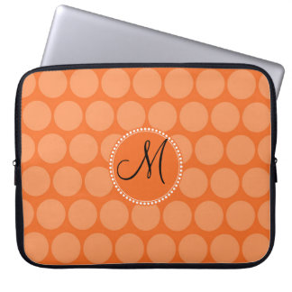 Personalized Monogram Initial Orange Polka Dots Computer Sleeve