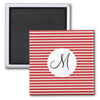 Personalized Monogram Initial Red White Striped 2 Inch Square Magnet