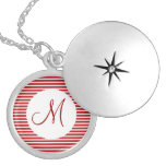 Personalized Monogram Initial Red White Striped Round Locket Necklace