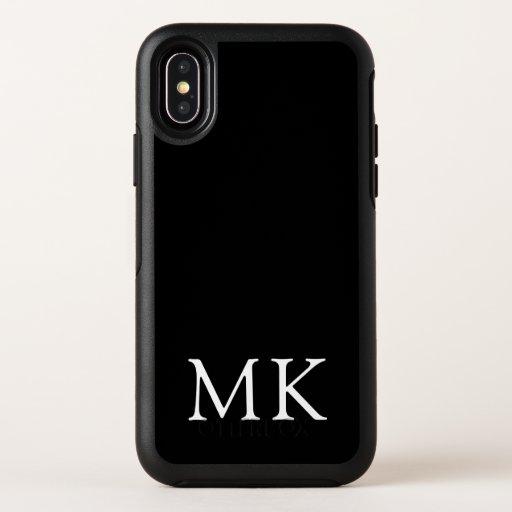 Personalized Monogram Initials Modern Black OtterBox Symmetry iPhone XS Case