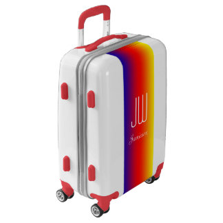 Personalized Monogram Initials Rainbow Red Trim Luggage