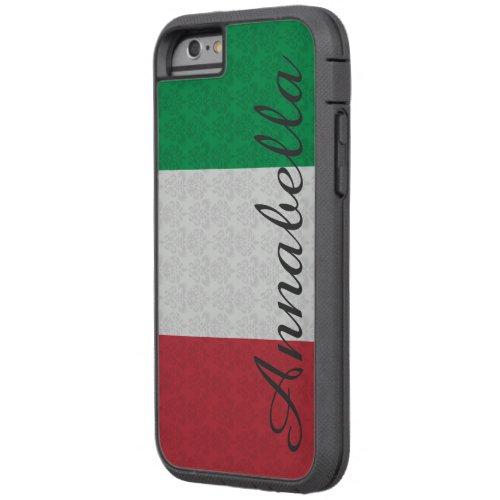Personalized Monogram Italian Flag Damask Pattern Phone Case
