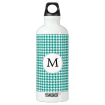 Personalized Monogram Jade Houndstooth Pattern Aluminum Water Bottle