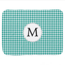 Personalized Monogram Jade Houndstooth Pattern Baby Blanket