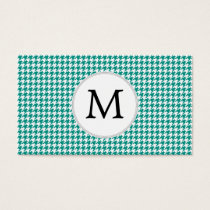 Personalized Monogram Jade Houndstooth Pattern Business Card