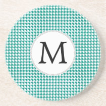 Personalized Monogram Jade Houndstooth Pattern Coaster