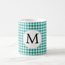 Personalized Monogram Jade Houndstooth Pattern Coffee Mug