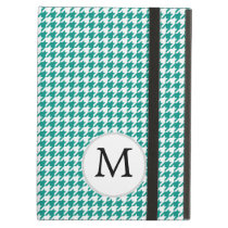 Personalized Monogram Jade Houndstooth Pattern Cover For iPad Air