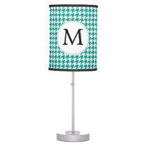 Personalized Monogram Jade Houndstooth Pattern Desk Lamp