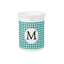 Personalized Monogram Jade Houndstooth Pattern Drink Pitcher