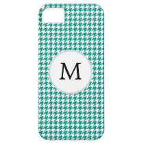 Personalized Monogram Jade Houndstooth Pattern iPhone SE/5/5s Case