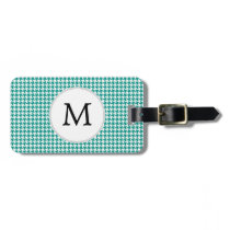 Personalized Monogram Jade Houndstooth Pattern Luggage Tag