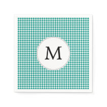 Personalized Monogram Jade Houndstooth Pattern Napkin