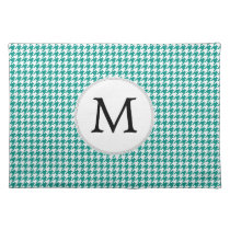 Personalized Monogram Jade Houndstooth Pattern Placemat