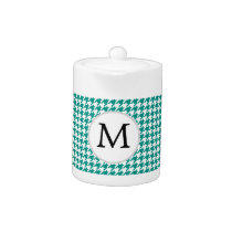 Personalized Monogram Jade Houndstooth Pattern Teapot