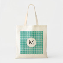 Personalized Monogram Jade Houndstooth Pattern Tote Bag