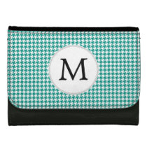 Personalized Monogram Jade Houndstooth Pattern Wallets For Women