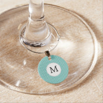 Personalized Monogram Jade Houndstooth Pattern Wine Glass Charm