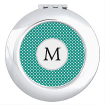 Personalized Monogram Jade Polka Dots Pattern Compact Mirror