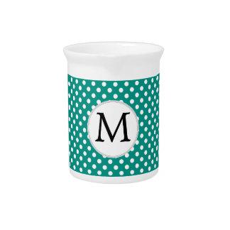 Personalized Monogram Jade Polka Dots Pattern Drink Pitcher