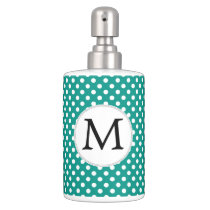Personalized Monogram Jade Polka Dots Pattern Soap Dispenser And Toothbrush Holder