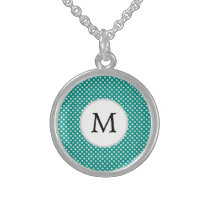 Personalized Monogram Jade Polka Dots Pattern Sterling Silver Necklace