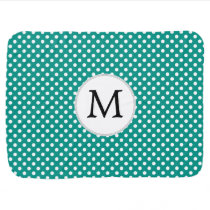 Personalized Monogram Jade Polka Dots Pattern Swaddle Blanket