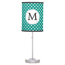 Personalized Monogram Jade Polka Dots Pattern Table Lamp