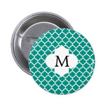 Personalized Monogram Jade Quatrefoil Pattern Button