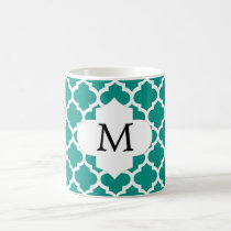 Personalized Monogram Jade Quatrefoil Pattern Coffee Mug