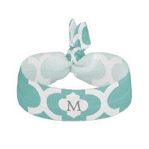 Personalized Monogram Jade Quatrefoil Pattern Elastic Hair Tie