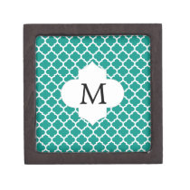 Personalized Monogram Jade Quatrefoil Pattern Gift Box