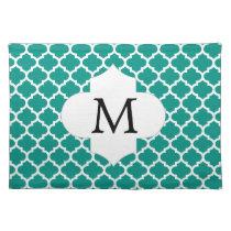 Personalized Monogram Jade Quatrefoil Pattern Placemat